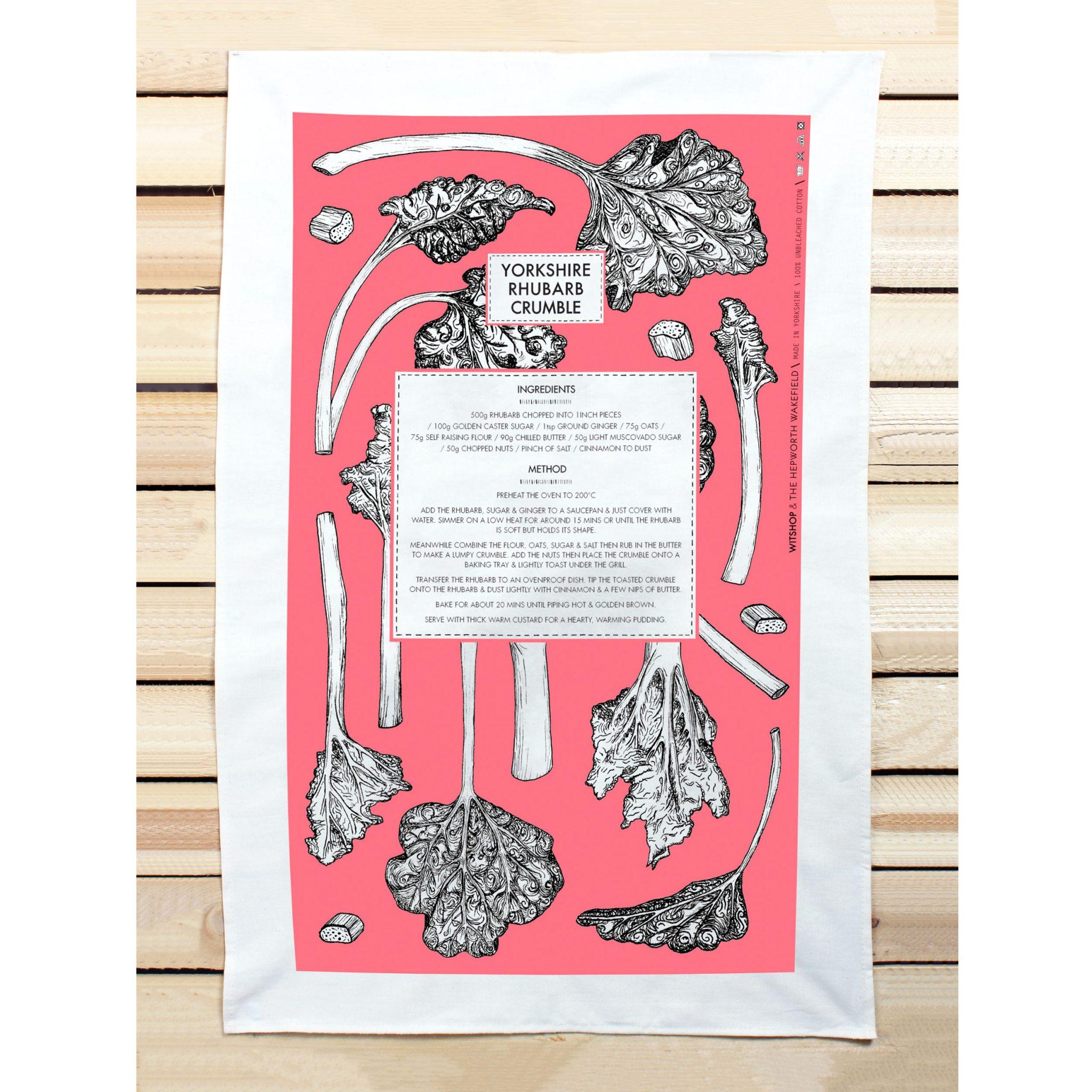 Rhubarb Recipe Tea Towel 1