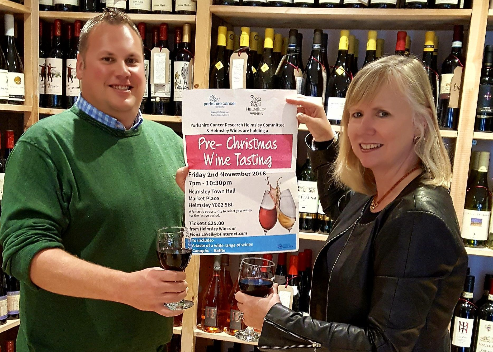 Mal Potter from Helmsley Wines and Fiona Lovell Chair of the Helmsley Committee for Yorkshire Cancer Research