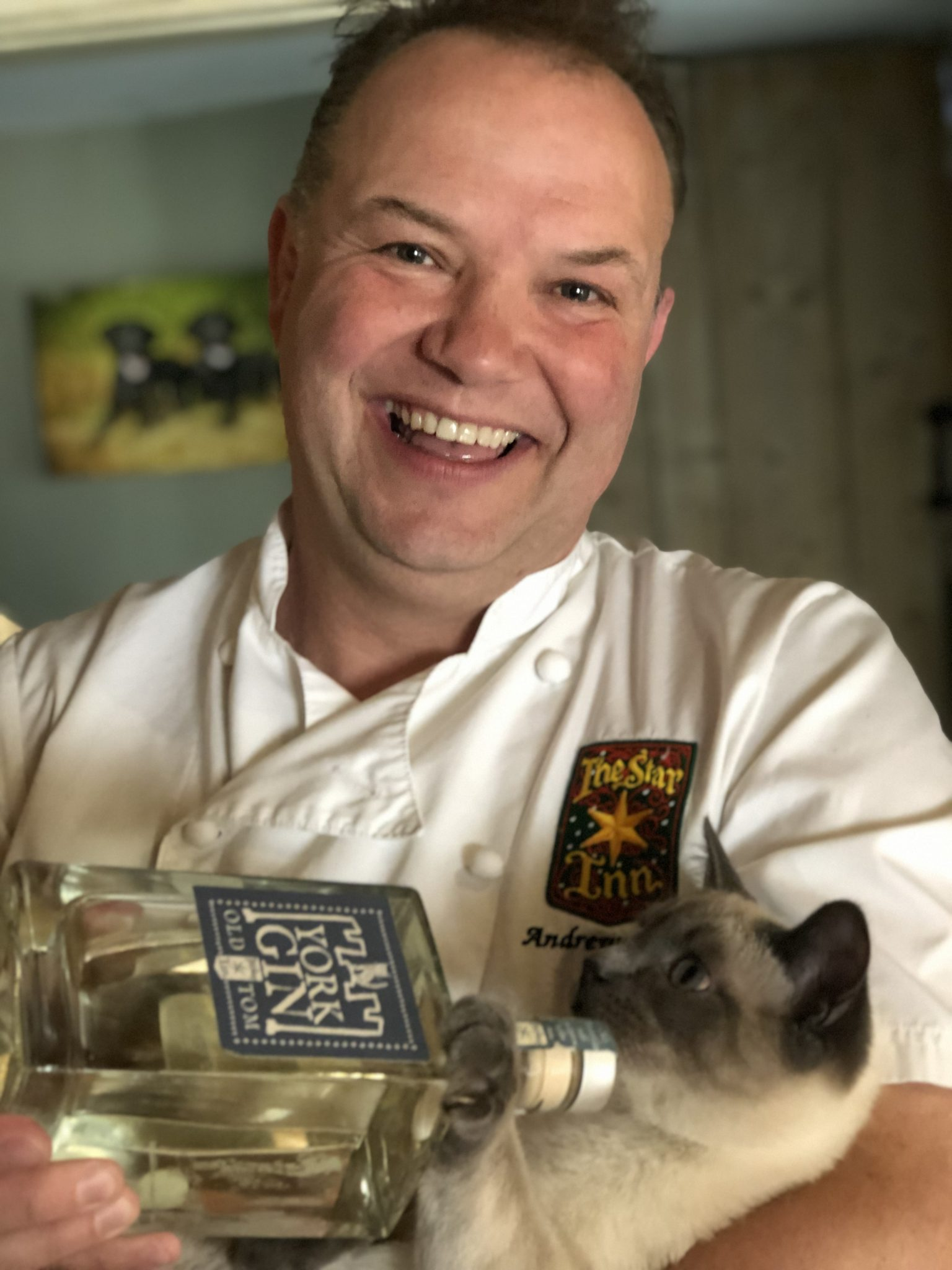 Andrew Pern with Goose the cat and York GIn Old Tom 2