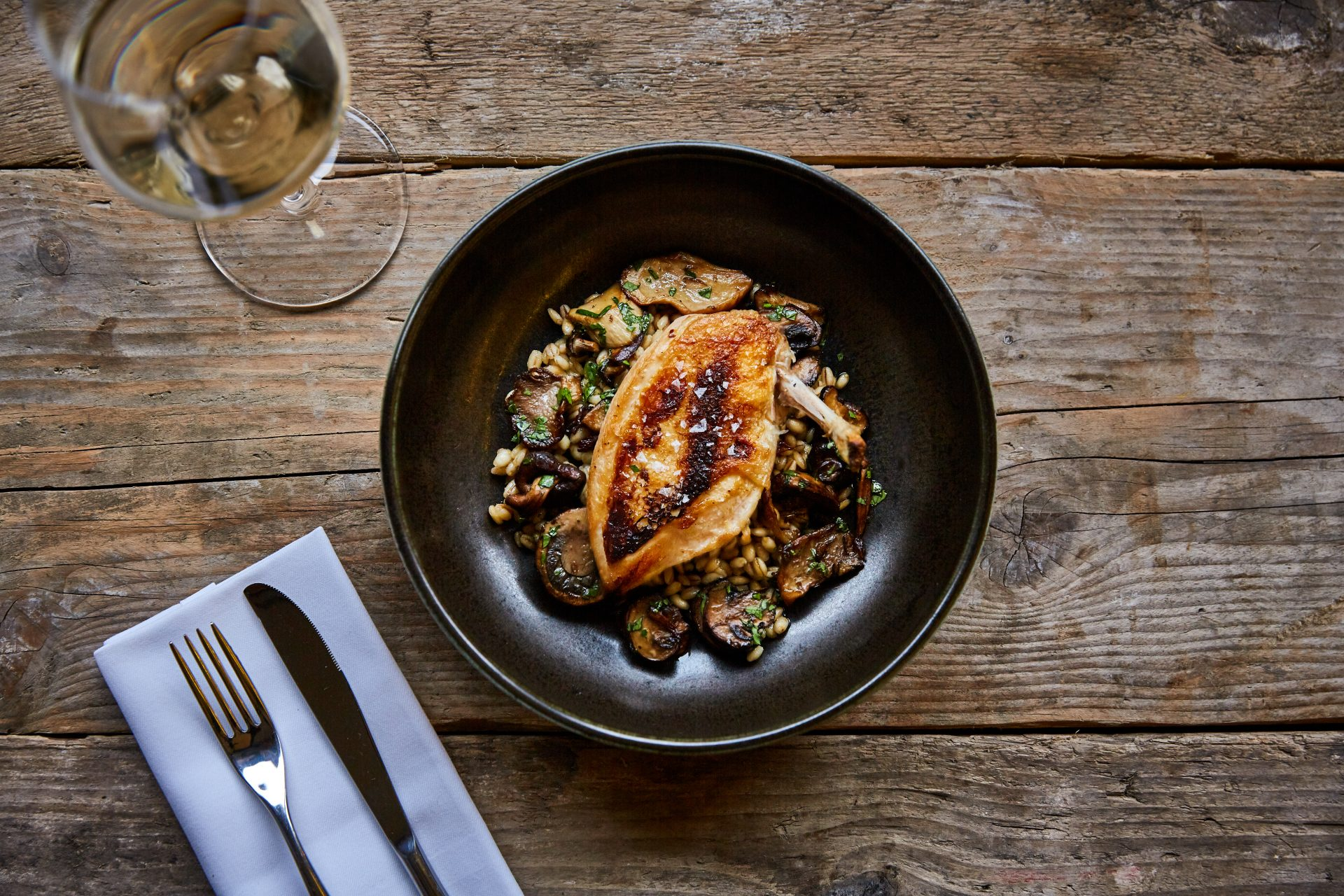 Roasted chicken breast with wild mushrooms and pearl barley