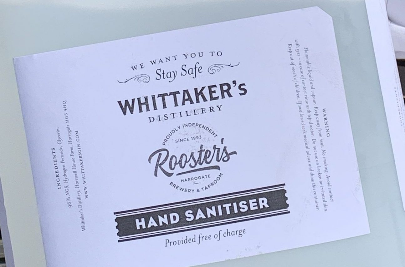 The alcohol-based hand sanitiser produced as a result of the collaboration between Whittaker's distillery and Rooster's brewery